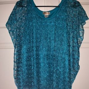 Blue lacey top